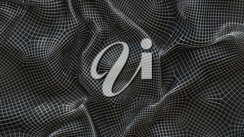 3D Illustration Abstract Black Background with Metal Mesh