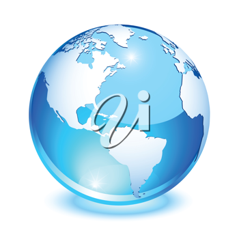 Royalty Free Clipart Image of a Blue Crystal Earth