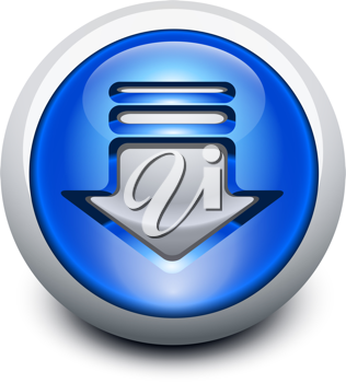 Royalty Free Clipart Image of a Button with a Download Arrow