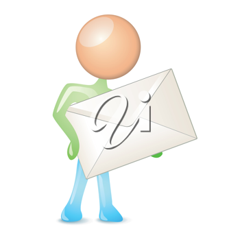 Royalty Free Clipart Image of a Person Holding an Envelope