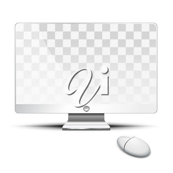 Transparent flat screen and mouse on the desktop