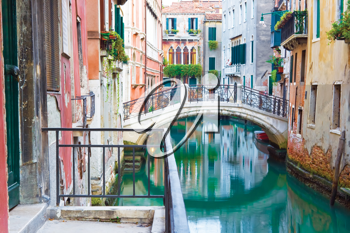 Royalty Free Photo of a Bridge Over a Venetian Canal