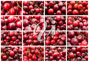 Collection of beautiful red fresh cherry macro photo backgrounds