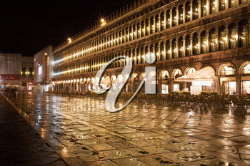 Beautiful night view of famous San Marco square in Venice, Italy