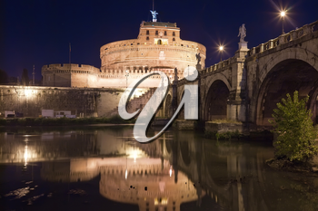 Famous Saint Angel castle and bridge over Tiber river in Rome, Italy