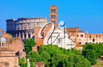Ruins of famous ancient Roman Forum and Colosseum in Rome, Italy