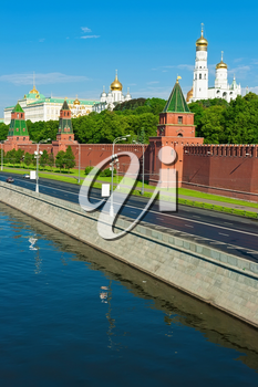 Beautiful view of  Moscow Kremlin and Moskva river, Russia