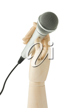 Royalty Free Photo of a Wooden Hand Holding a Microphone