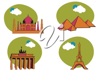 Royalty Free Clipart Image of Historical World Icons