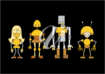 Royalty Free Clipart Image of a Family of Robots