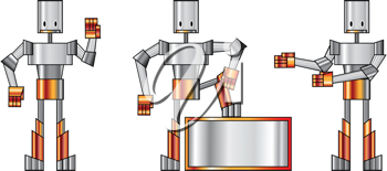 Royalty Free Clipart Image of Three Robots