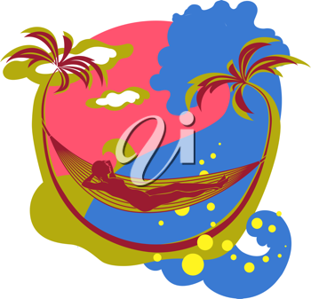 Royalty Free Clipart Image of a Woman in a Hammock at the Beach