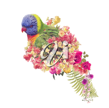 Rainbow Lorikeet parrot with flowers anf leaves .Double Exposure Effect