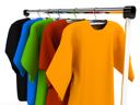 Royalty Free Clipart Image of Clothes on Hangers