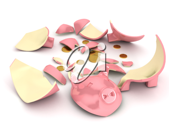 Royalty Free Clipart Image of a Broken Piggy Bank
