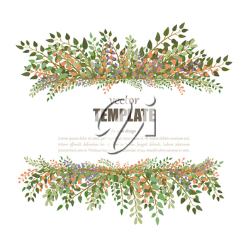 Fresh spring frame with lettering and flowers. Vector