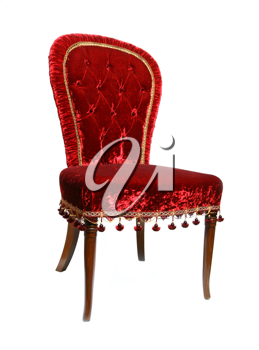Red vintage chair, isolated on white