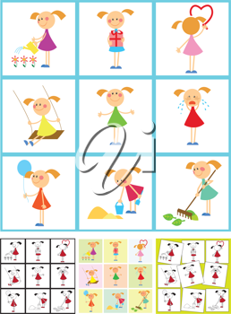 Royalty Free Clipart Image of Girls Doing Various Activities