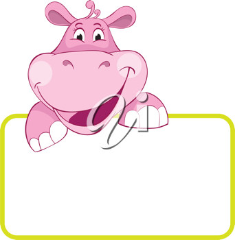 Royalty Free Clipart Image of a Pink Hippo With a Banner