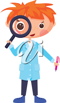 Cartoon scientist and magnifying glass.EPS10. Contains transparent objects used for shadows drawing