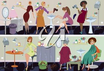 Royalty Free Clipart Image of People in a Beauty Salon