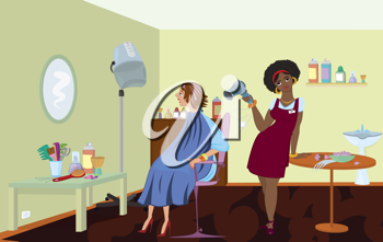 Royalty Free Clipart Image of Women at a Beauty Salon