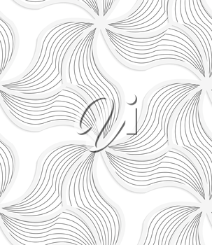 Seamless geometric background. Pattern with realistic shadow and cut out of paper effect.White 3d paper.3D white wavy triangular grid with gray stripes.