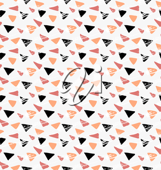 Abstract yellow and black grunge triangles.Hand drawn with paint brush seamless background.Modern hipster style design.