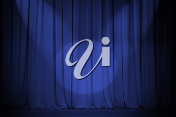 Royalty Free Photo of a Blue Theatre Curtain