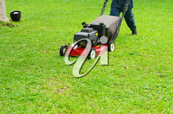 Royalty Free Photo of a Person Mowing the Lawn