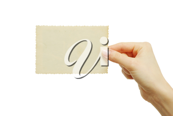 card blank in a hand on white