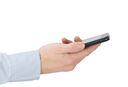 a hands holding a mobile phone for support