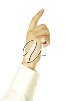 hand touching screen isolated on a white