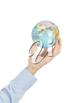 Hands holdings a globe on white