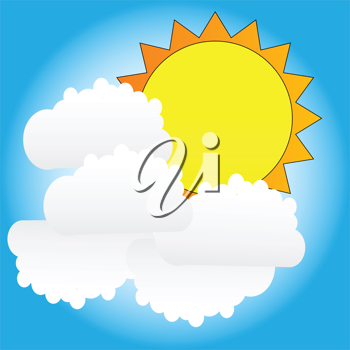 Royalty Free Clipart Image of the Sun and Clouds