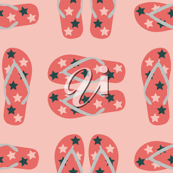 Seamless pattern with living coral flip flops. Summer vector illustration.