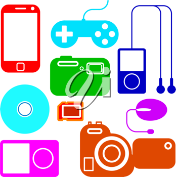 Royalty Free Clipart Image of Electronic Gadgets