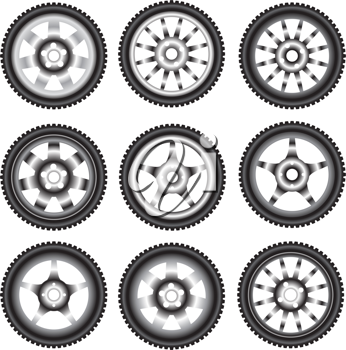 Royalty Free Clipart Image of Automotive Wheels