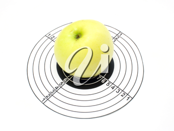 target and apple isolated on a white background