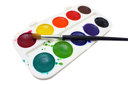 Dirty watercolor paints set with brushes after using