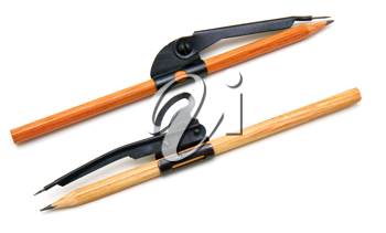Two pencils and compasses on a white background