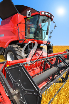 combine harvester on a wheat field with a blue sky