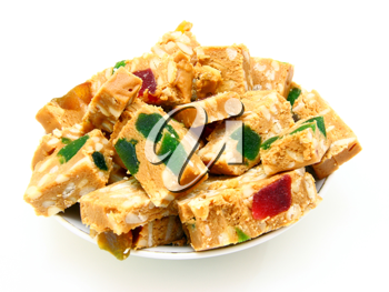 Peanut brittle isolated on white background