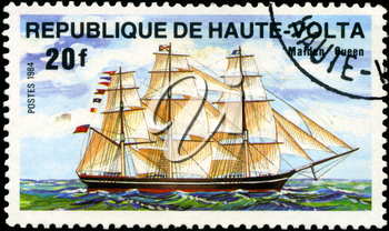 REPUBLIC OF UPPER VOLTA- CIRCA 1984: A stamp printed in Republic of Upper Volta shows the ship Malden Queen, series is devoted to sailing vessels, circa 1984