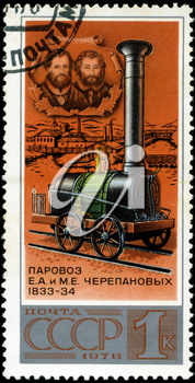 USSR - CIRCA 1978: A stamp printed in the USSR shows 1st Russian locomotive E.A. and M.W. Cherepanov 1833-34, series, circa 1978, circa 1978