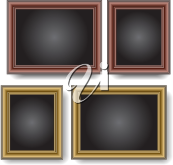 Frames on the wall. Vector illustration.