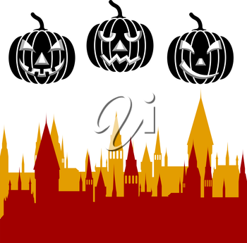 Halloween pumpkin and castle tower. Vector illustration.