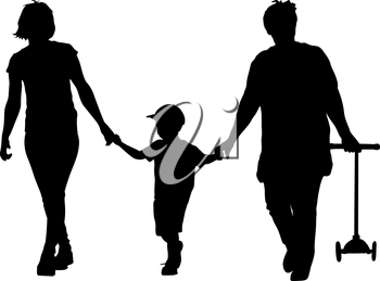Black silhouette of mother, grandmother and grandson walking with scooter in the hands. Vector illustration.