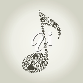 The musical note made of houses. A vector illustration