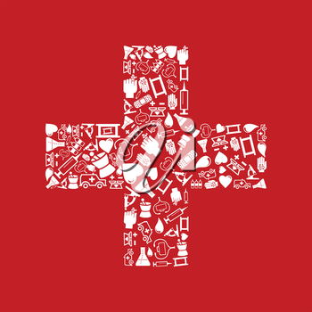White cross on a red background. A vector illustration
